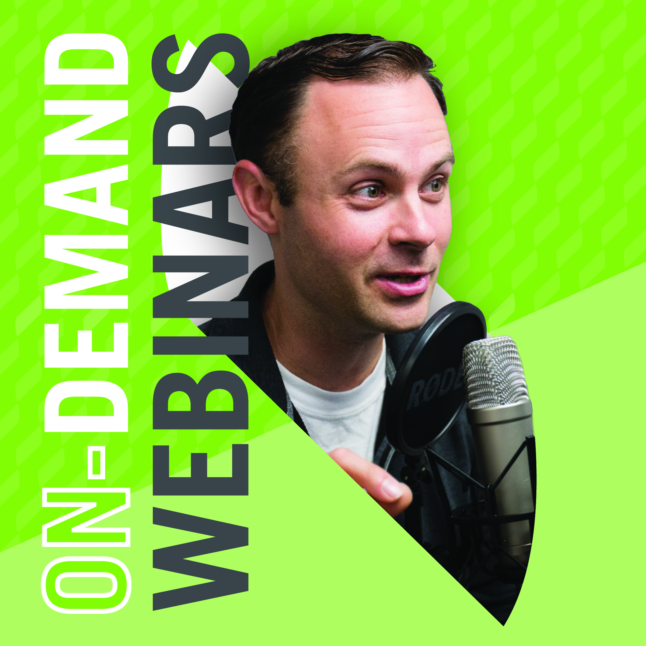 "Jake Sturgis, owner of Captivate Media, talking into a podcasting microphone. Text saying ""On-Demand Webinars"""