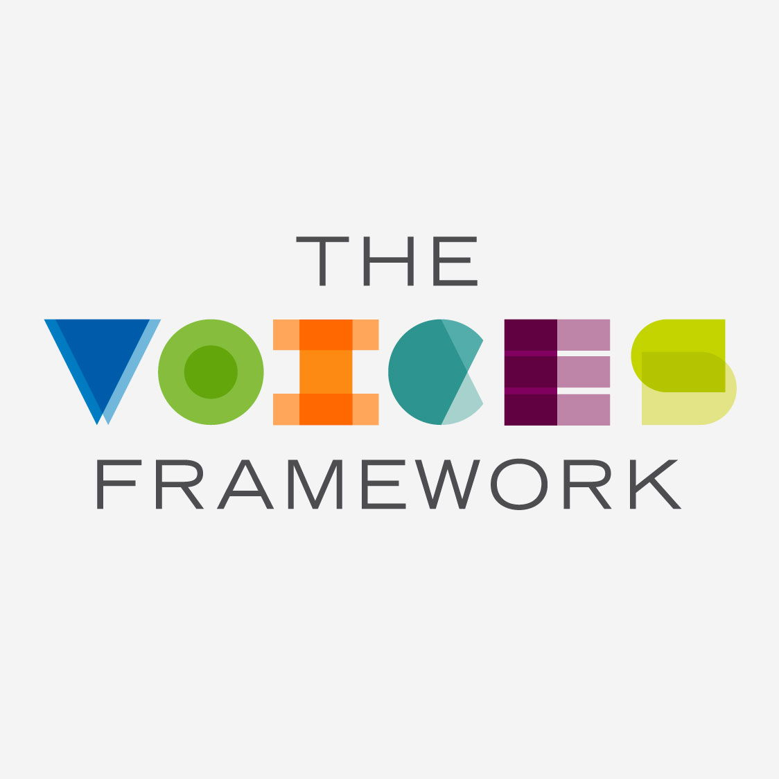 Logo for The Voices Framework. VOICES is in colorful letters, made up of abstract shapes.